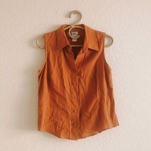Vintage Terracotta Linen Sleeveless Button Up